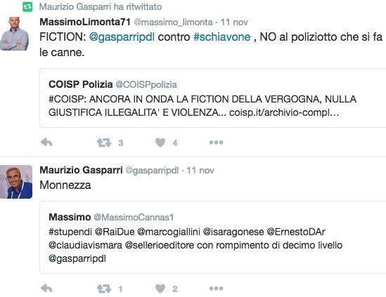Gasparri Tweet su Rocco Schiavone