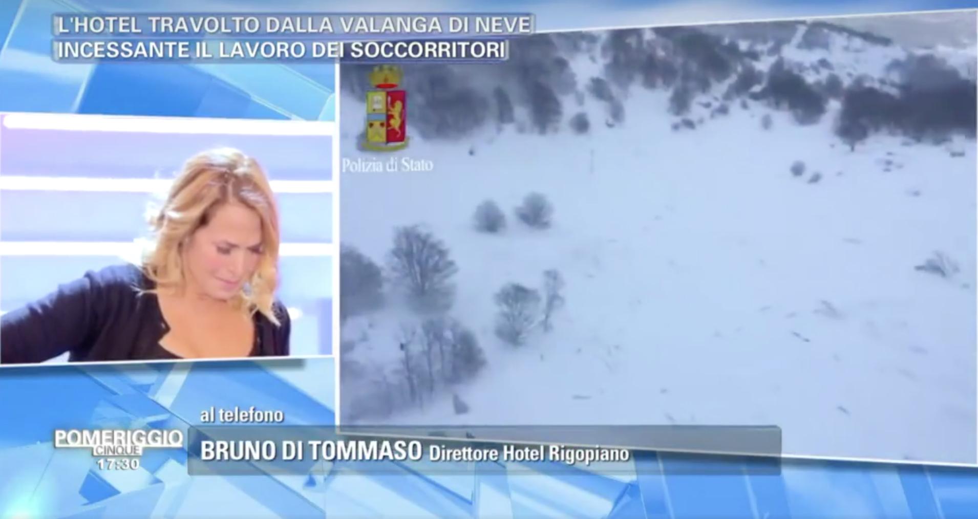 Barbara D'Urso si commuove in diretta a Pomeriggio 5: 'L'Hotel Rigopiano era il mio nido'
