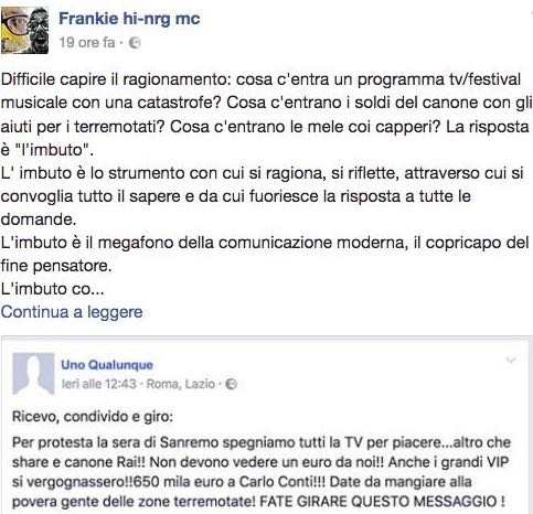 Frankie Hi Nrg difende Sanremo