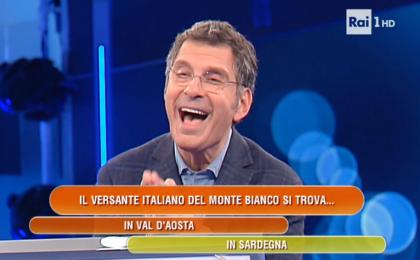 L'Eredità, super gaffe del concorrente: 'Il versante italiano del Monte Bianco si trova in Sardegna'