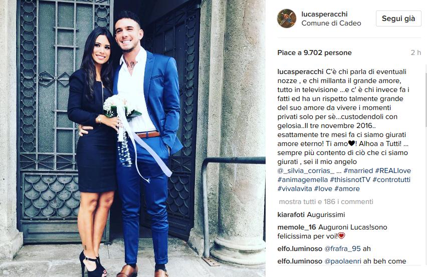 Lucas Peracchi, matrimonio su Instagram