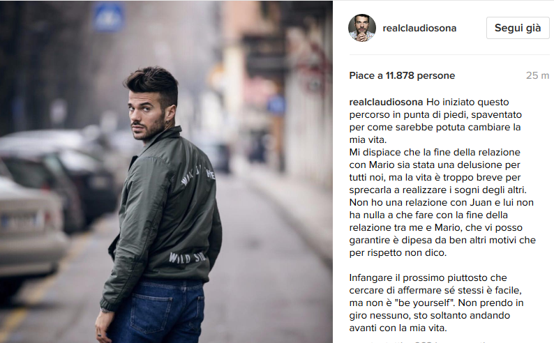 Claudio Sona smentisce la relazione con Juan Fran Sierra su Instagram