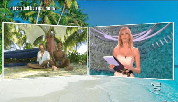 Isola dei famosi 12, Alessia Marcuzzi in collegamento con Eva Grimaldi e Moreno
