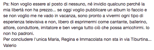 Valerio Scanu post su facebook
