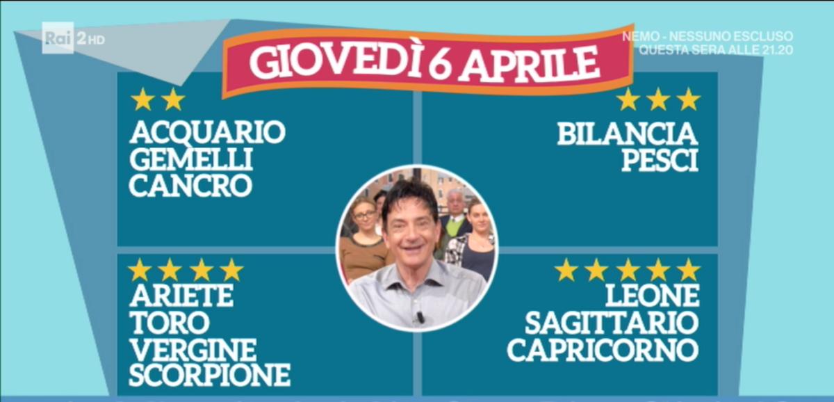 Oroscopo Paolo Fox 6 aprile 2017 a I Fatti Vostri: Sagittario al top con 5 stelle
