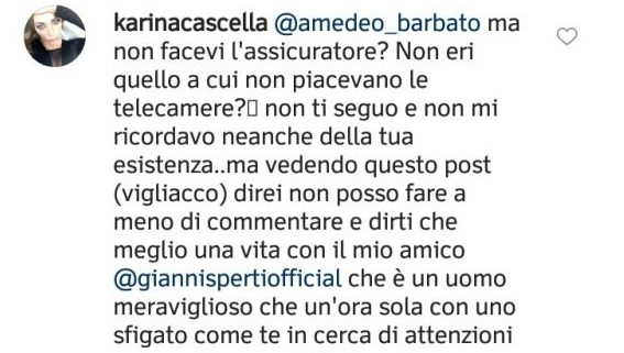 Karina Cascella su Instagram contro Amedeo Barbato
