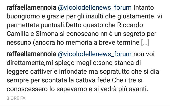 Raffaella Mennoia su Riccardo e Camilla a Temptation Island 2017