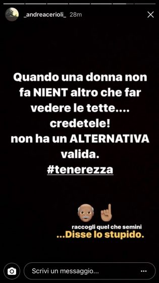 Andrea Cerioli su Instagram contro Valentina Rapisarda