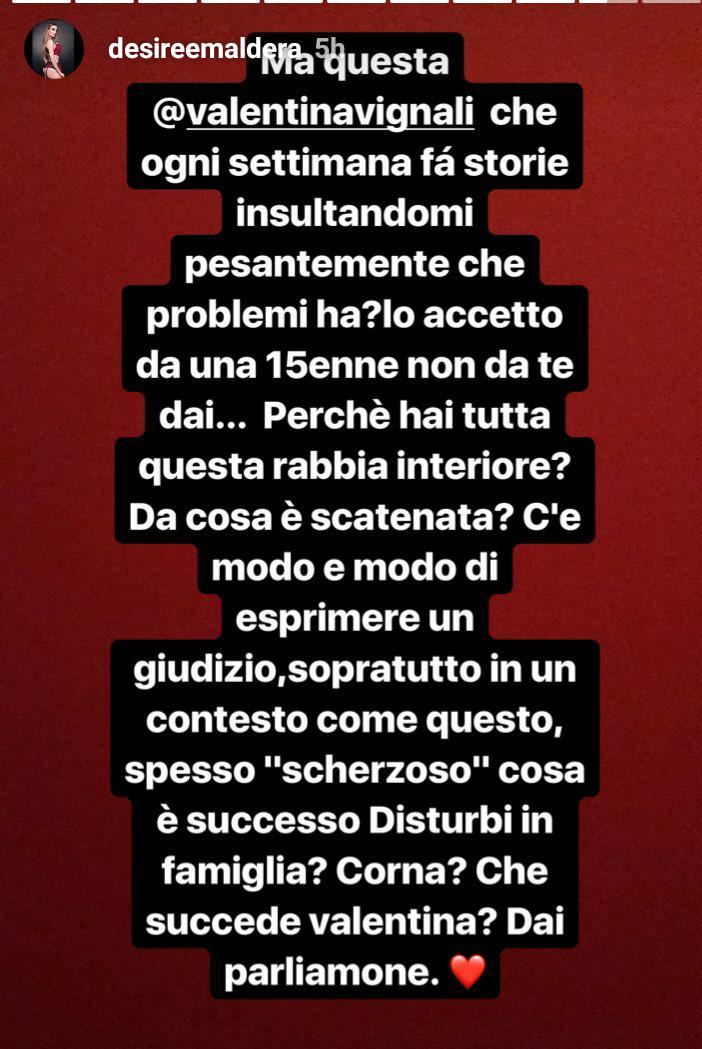 Desirèe Maldera risponde a Valentina Vignali