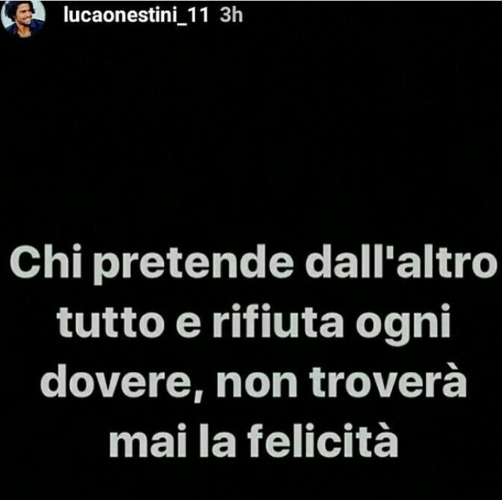 Luca Onestini, post su Instagram Story