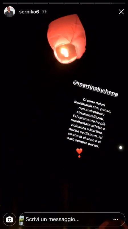 Mario Serpa, condoglianze per Martina Luchena