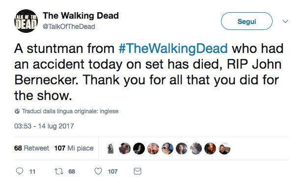 Mote Stuntman The Walking Dead 8 Twitter