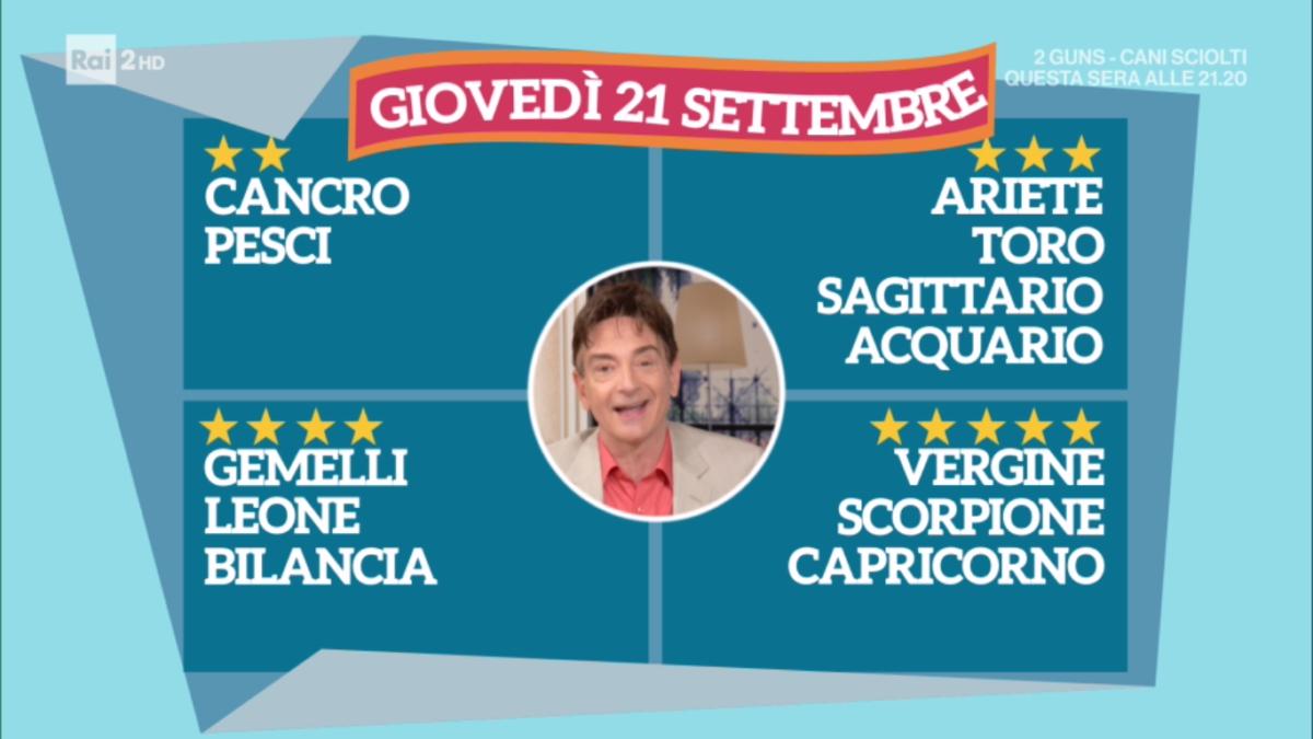 Oroscopo Paolo Fox oggi 21 settembre 2017 a I Fatti Vostri: Bilancia, nasce una nuova passione