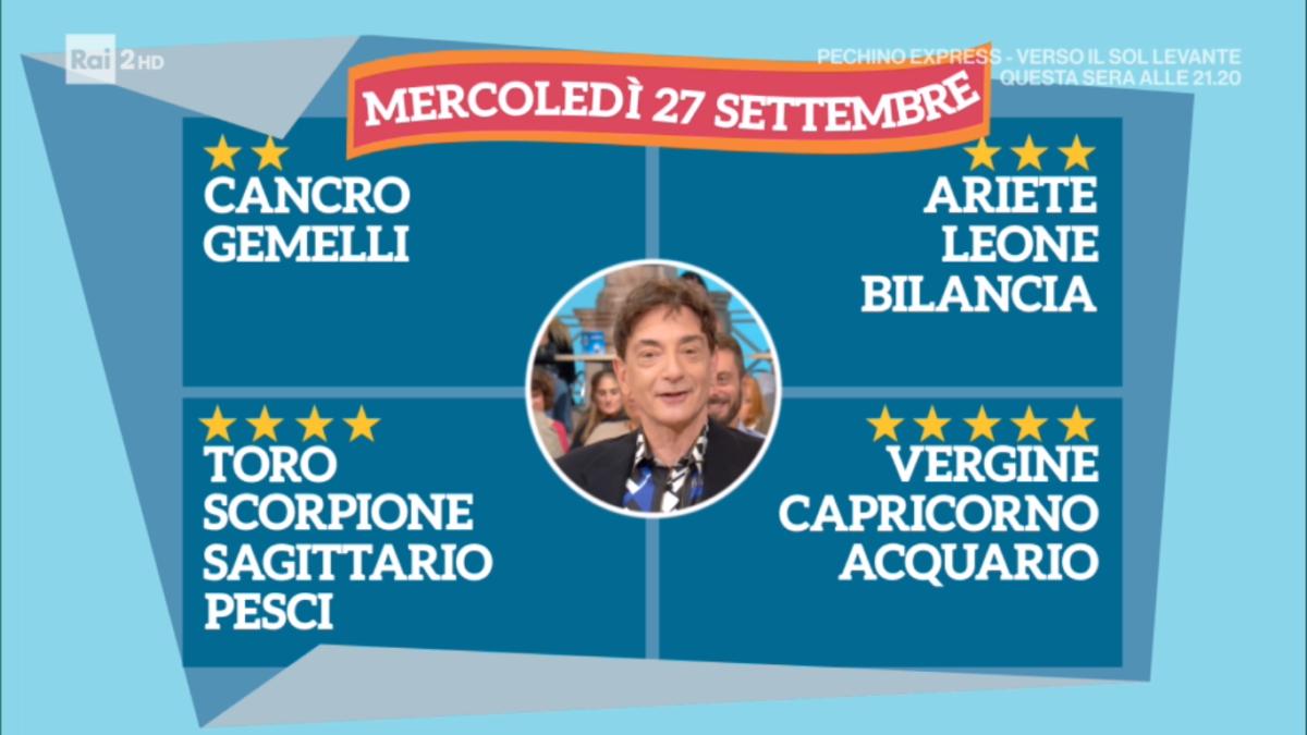 Oroscopo Paolo Fox oggi 27 settembre 2017 a I Fatti Vostri: Acquario, previsioni a 5 stelle