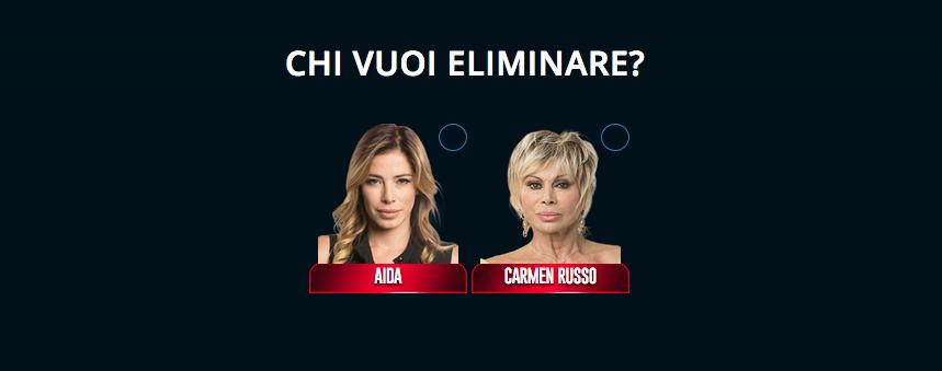 Grande Fratello VIP nominati settima puntata Aida Yespica e Carmen Russo