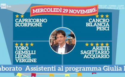 Oroscopo Paolo Fox oggi 29 novembre 2017 a I Fatti Vostri: Acquario, stelle fortunate