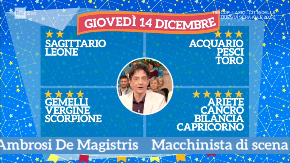 Oroscopo Paolo Fox 14 dicembre 2017 a I Fatti Vostri: Cancro, tornate in scena