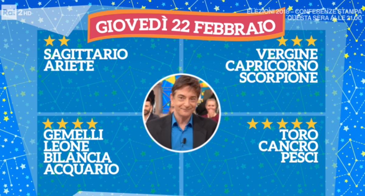 Oroscopo Paolo Fox oggi 22 febbraio 2018 a I Fatti Vostri: Cancro, niente panico